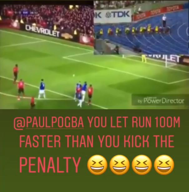 Usain Bolt Paul Pogba penalty