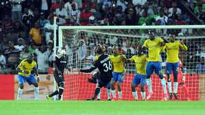 Marc van Heerden of Orlando Pirares scores against Mamelodi Sundowns