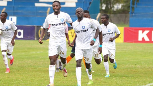 Moses Mburu and Ezekiel Odera of AFC Leopards.
