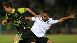 Sporting CP forward Daniel Pondence from Portugal with Vitoria Guimaraes midfielder Haashim Domingo
