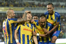 Pahang players celebrate their goal against T-Team 27/1/2017
