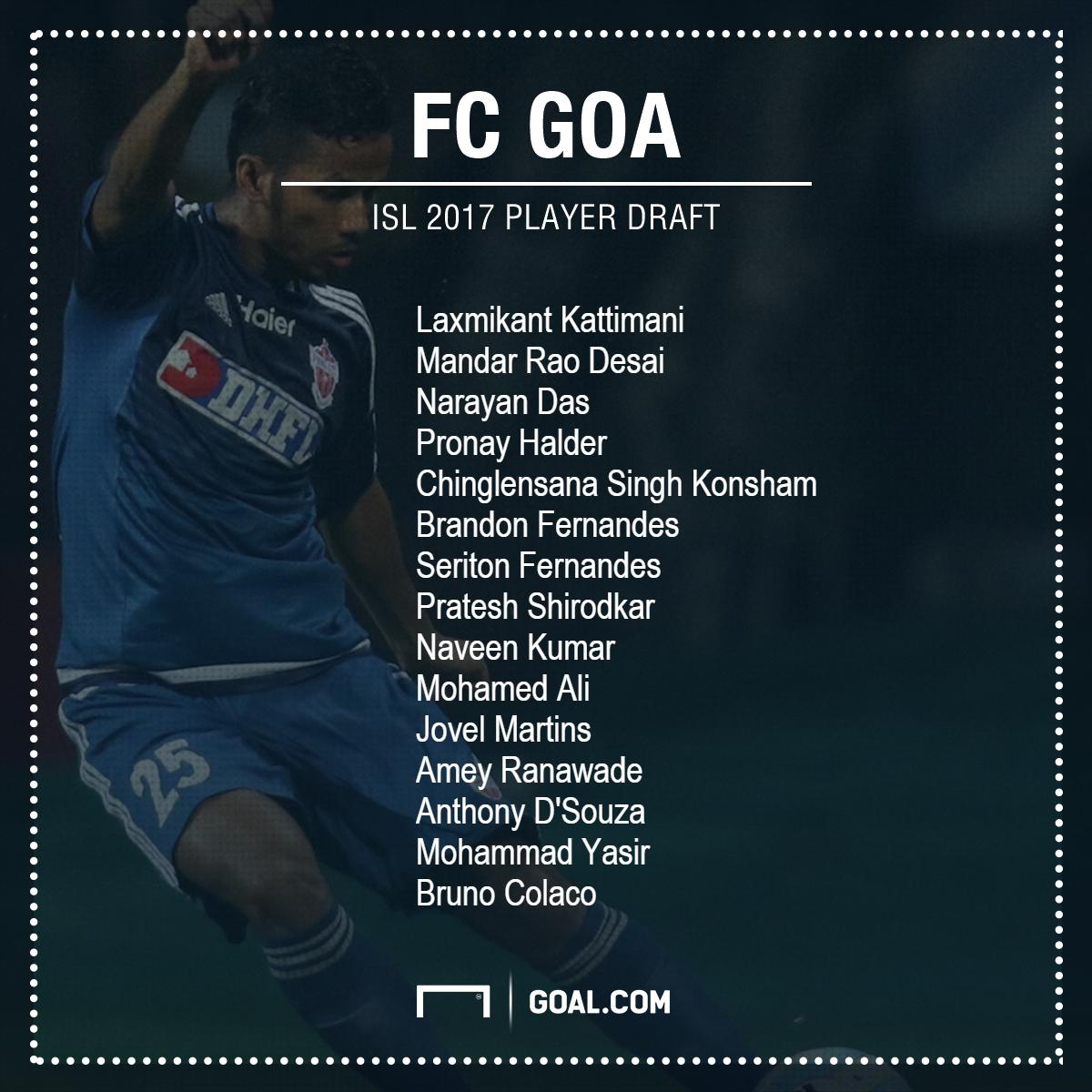 FC Goa ISL 2017 Player Draft