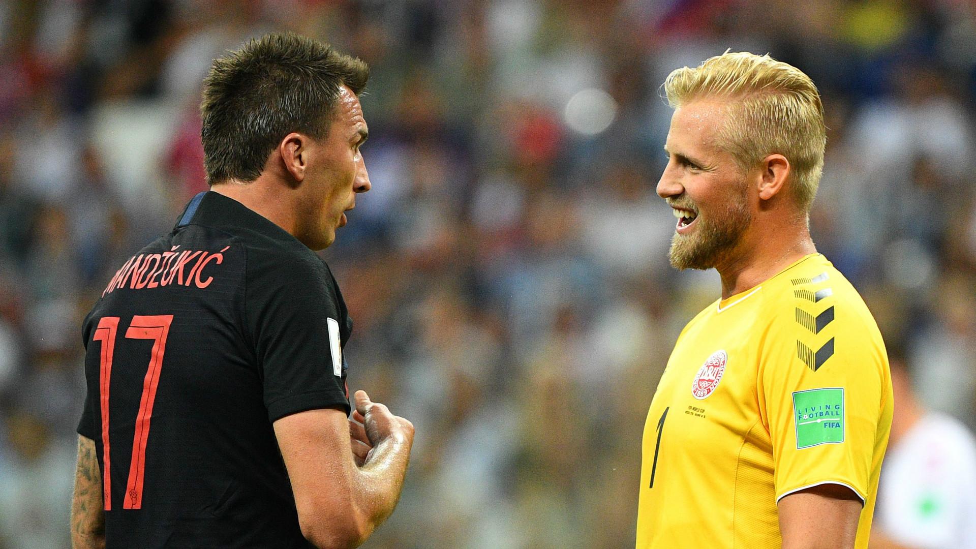 Mario Mandzukic Kasper Schmeichel Croatia Denmark 2018