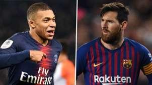 Kylian Mbappe Lionel Messi PSG Barcelona