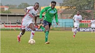 Cliff Kasuti of Ulinzi Stars v Eugine Mukangula of Thika United.