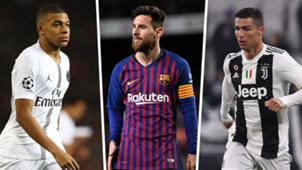 Messi Mbappe Ronaldo Golden Shoe 2018-19