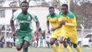 ENOCK AGWANDA of SOny Sugar and CLIF NYAKEYA of Mathare United.