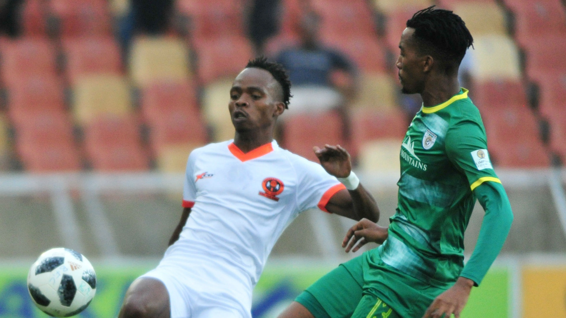 Mpho Mvelase of Polokwane City and Matome Mabeba of Baroka FC, March 2019