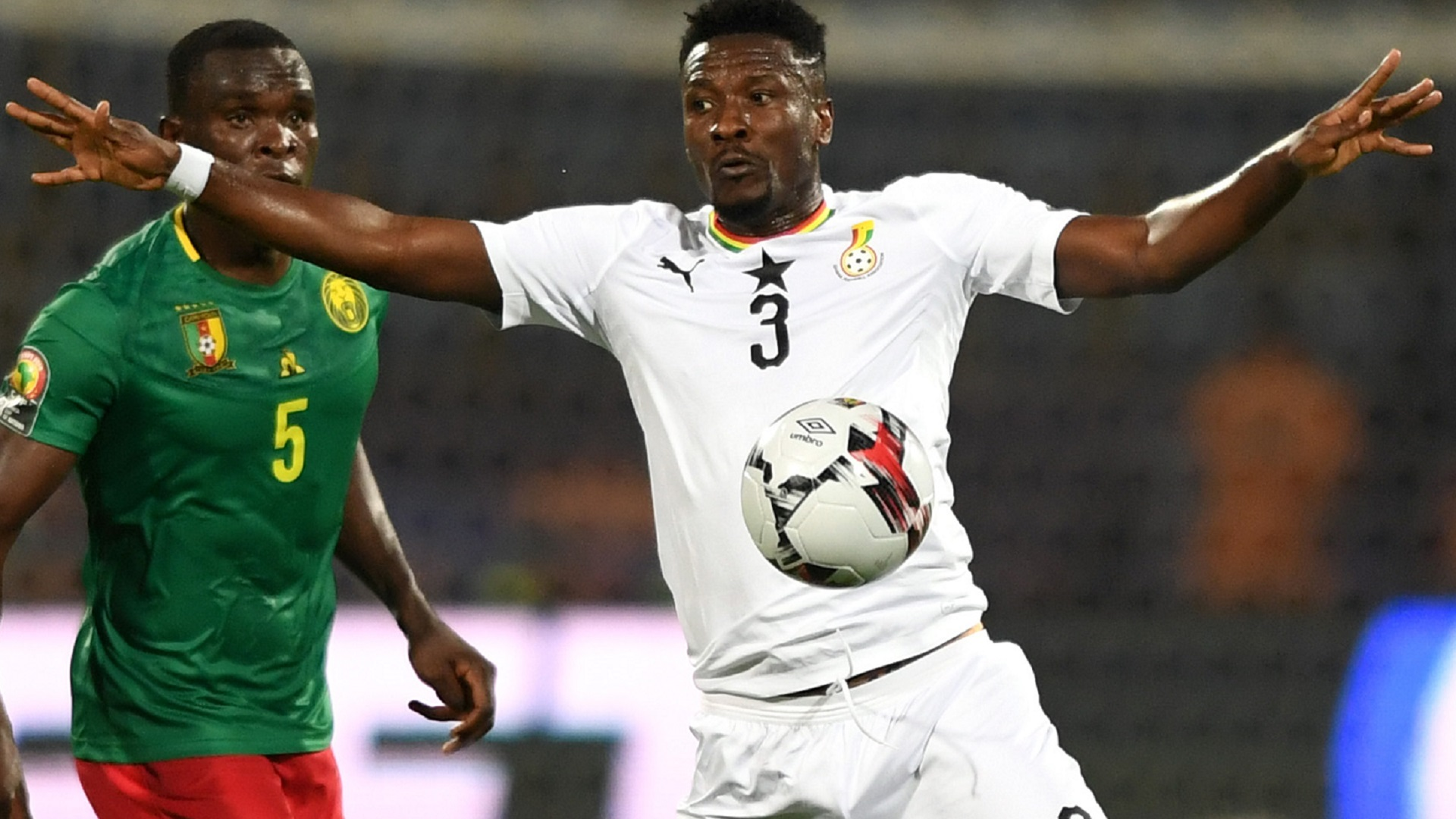 Ghana's forward Asamoah Gyan controls the ball during the 2019 Africa Cup of Nations