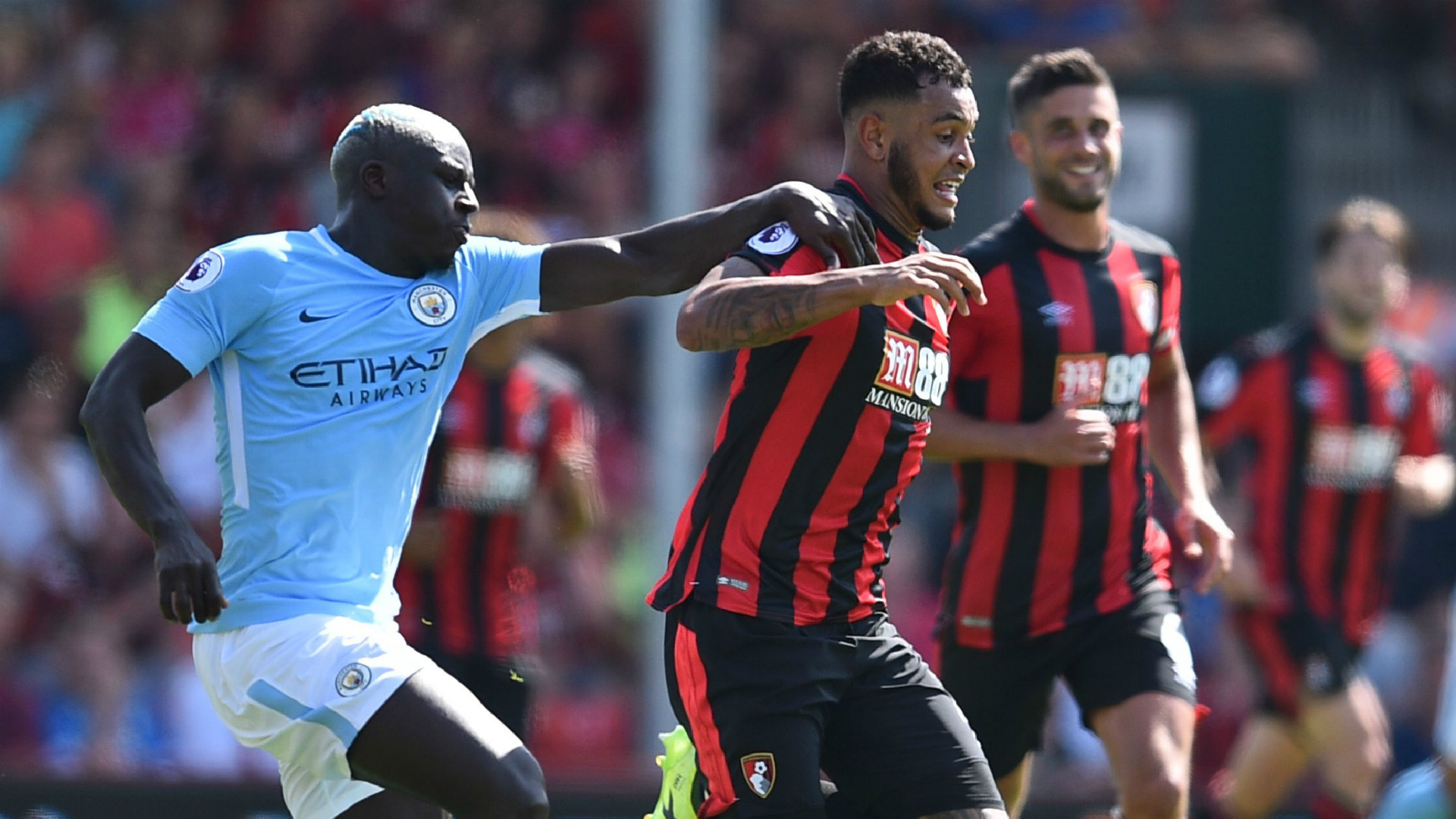 Benjamin Mendy Joshua King Manchester City Bournemouth 26082017