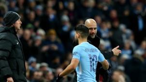 Sergio Aguero Pep Guardiola Manchester City 06012018