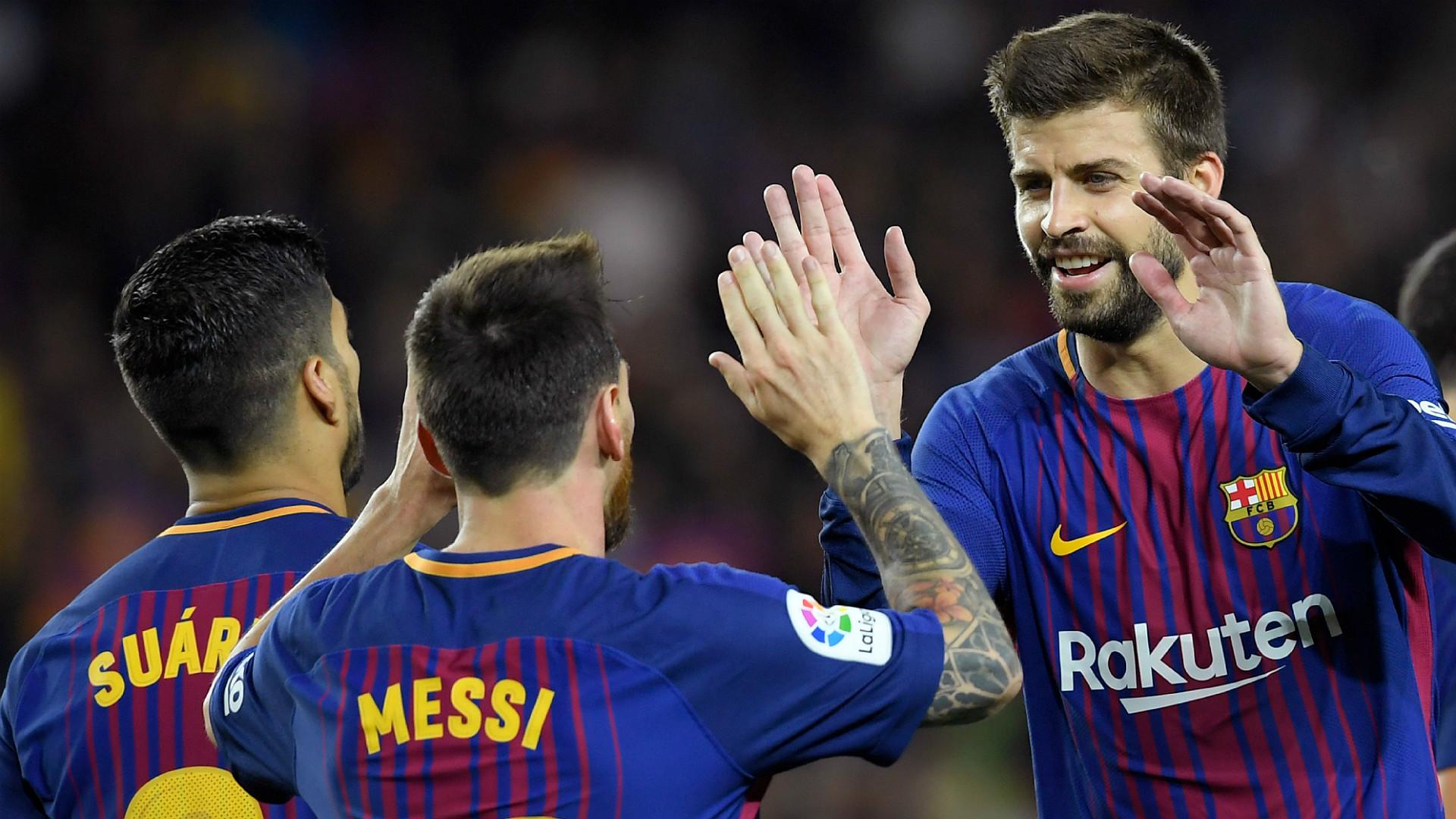 Suarez Messi Pique Barcelona Espanyol La Liga
