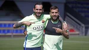 Aleix Vidal Jordi Alba Barcelona training