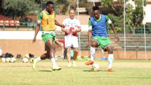 Harambee Stars and coach Sebastien Migne.