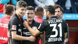 170917 Charles Aránguiz Kai Havertz Kevin Volland Bayer Leverkusen Freiburg