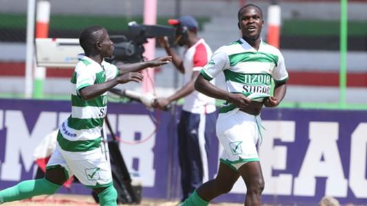 Nzoia Sugar defender Edwin Wafula celebrates.