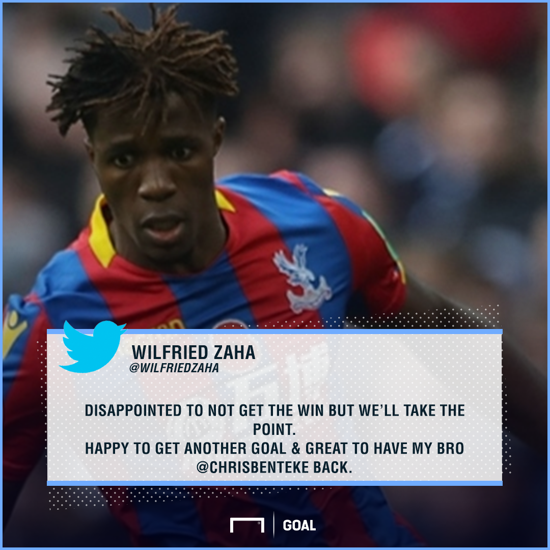 Wilfried Zaha disappointed with Crystal Palace's draw vs