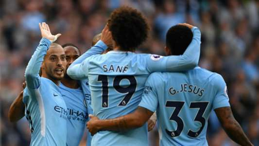 Manchester City celebrates Stoke City Premier League