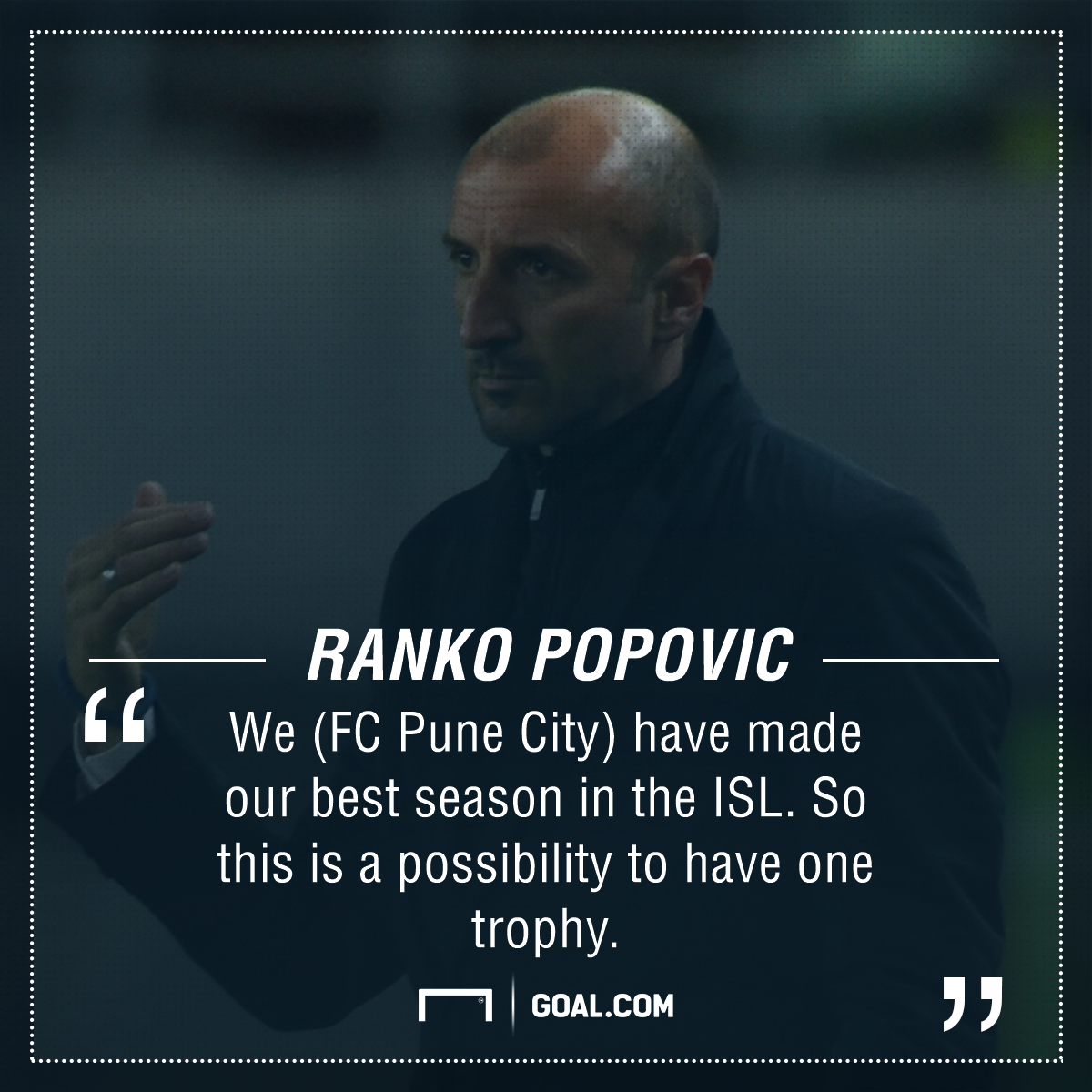 GFX Ranko Popovic FC Pune City Super Cup