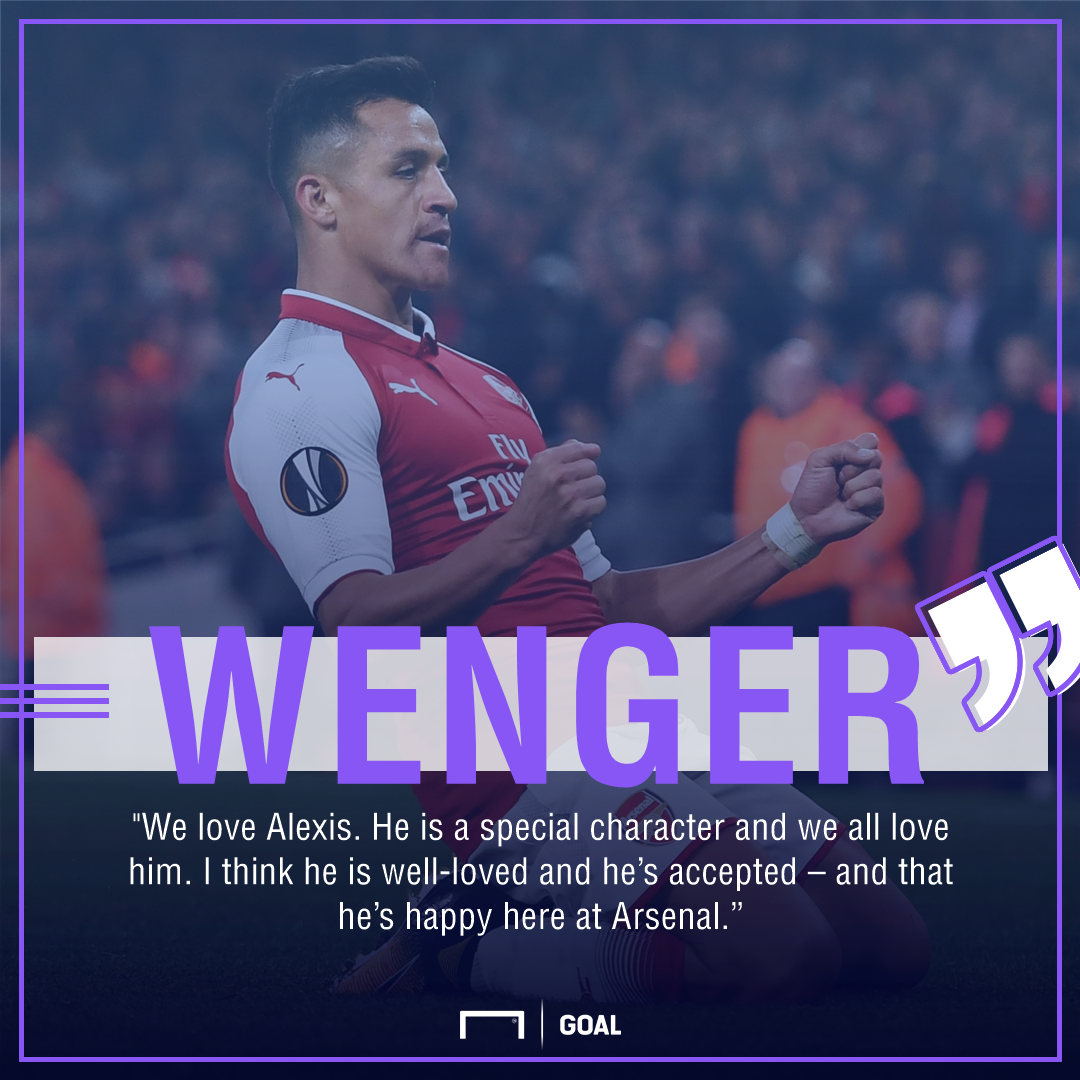 Arsene Wenger Alexis Sanchez Arsenal happy