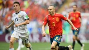 Andres Iniesta Aleksandr Golovin Spain Russia World Cup 2018