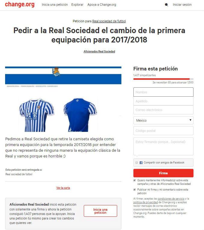 petición real sociedad uniforme 2017-18