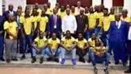 Yoweri Museveni with Uganda Cranes.