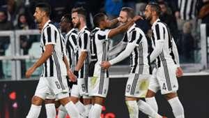 Juventus celebrates Douglas Costa goal against Genoa