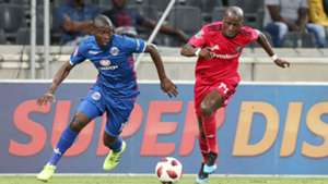 Aubrey Modiba of Supersport United challenged by Musa Nyatama of Orlando Pirates, February 2019