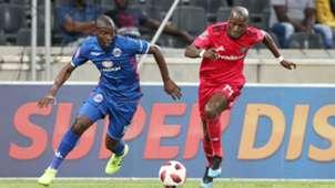 Aubrey Modiba of Supersport United challenged by Musa Nyatama of Orlando Pirates, February 2019