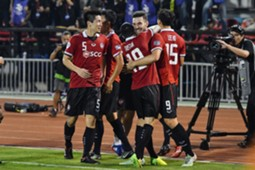 Xisco #9 of Muangthong United celebrates his goal with the team during the AFC Asian Champions League match
