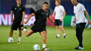 UEFA Supercup - Cristiano Ronaldo Zinedine Zidane - Training - Real Madri