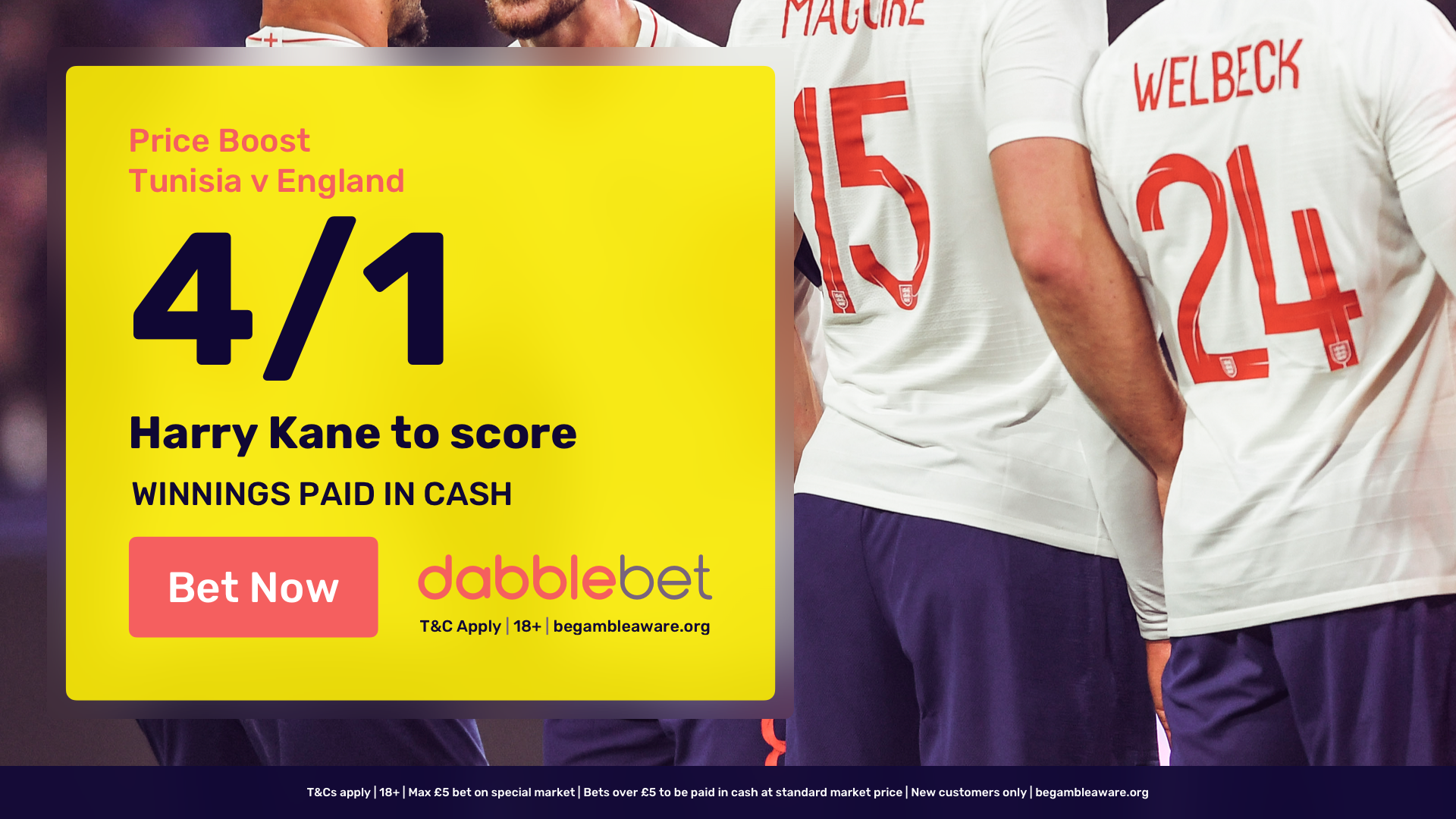 dabblebet Kane England Tunisia offer in article