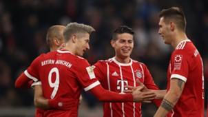 FC Bayern celebration James Rodriguez Lewandowski