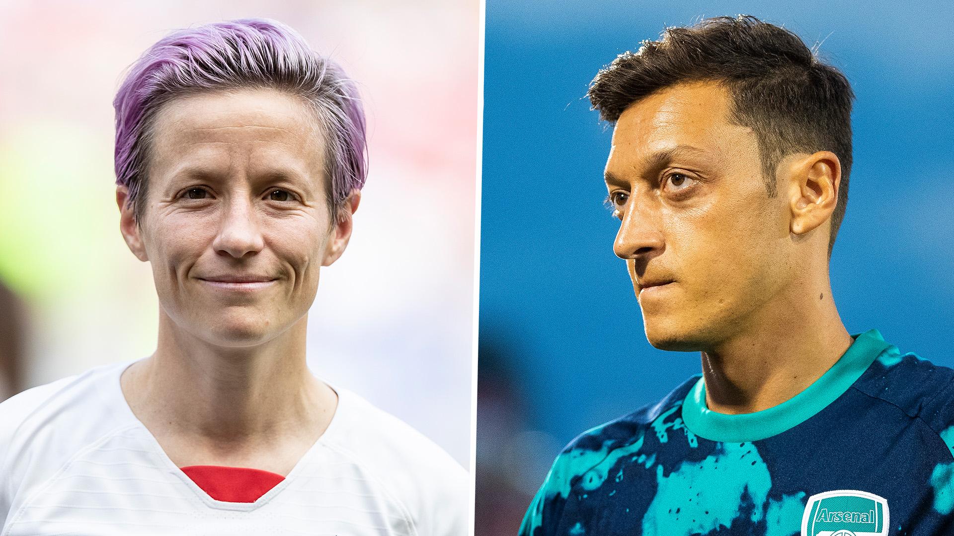 Aubameyang jokes Ozil looks like Megan Rapinoe as he reveals his new bleach blonde hairstyle