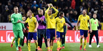 Sweden players celebrating Sweden Italy WC Qualification