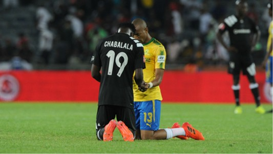 Justice Chabalala and Tiyani Mabunda - Orlando Pirates v Mamelodi Sundowns