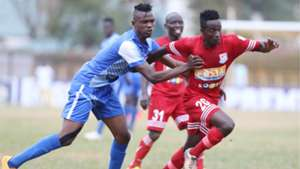 Nicholas Meja (L) and Titus Achesa of Bandari and Posta Rangers