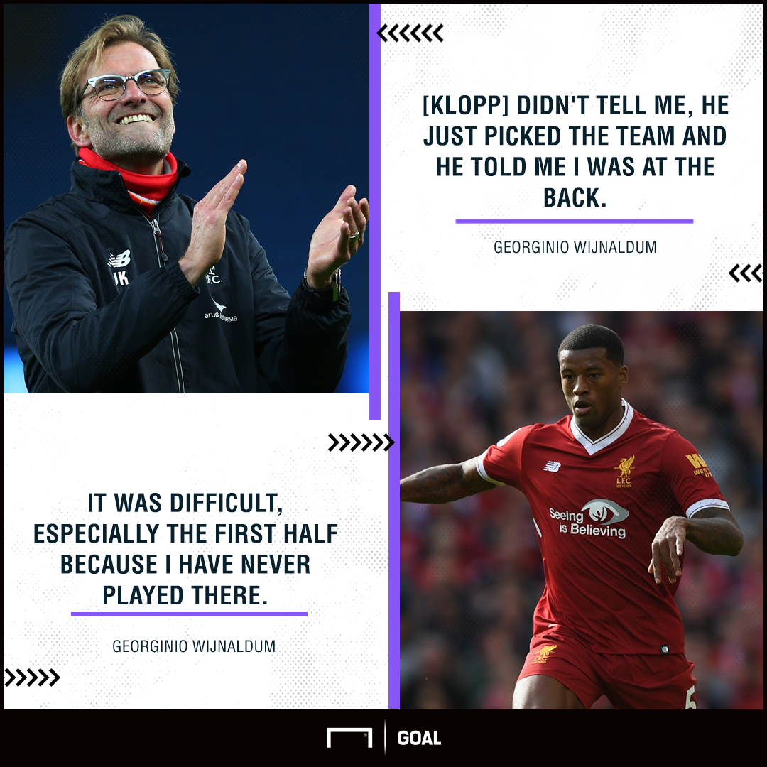 Georginio Wijnaldum Liverpool defence shock