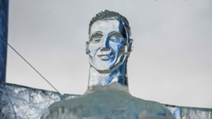 Cristiano Ronaldo ice sculpture Russia World Cup