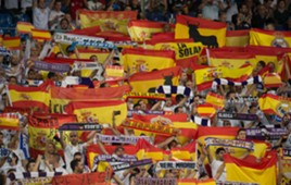 Real Madrid fans Spain flag Bernabeu