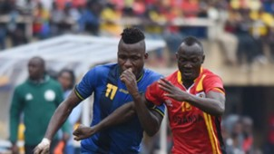 Thomas Ulimwengu of Tanzania challenges Godfrey Walusimbi of Uganda during the 2019 Afcon Qualifiers on 08 September 2018 at Mandela Stadium