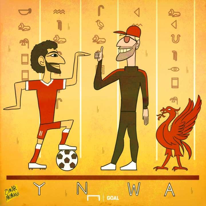 Cartoon Salah to Liverpool