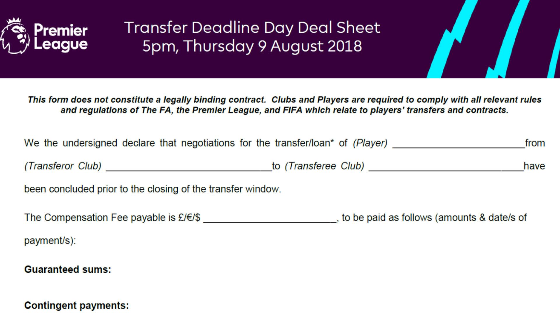 Premier League transfer deal sheet