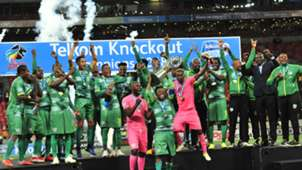 Baroka FC celebrate with Telkom Knockout trophy