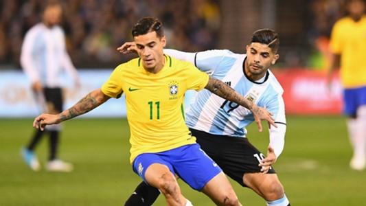 Philippe Coutinho Ever Banega Brazil v Argentina Friendly 09062017