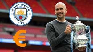 Guardiola Manchester City euro logo