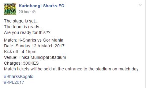 Kariobangi Sharks v Gor Mahia ticketing info