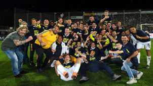 Parma players celebrating Spezia Parma Serie B