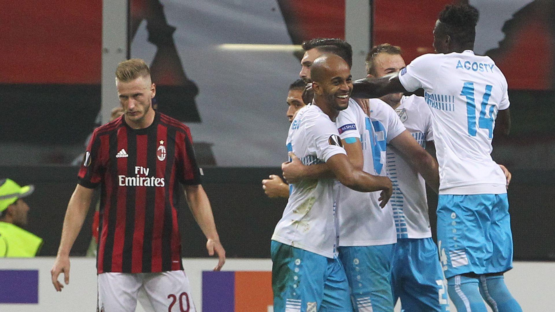 Rijeka celebrates Elez goal Milan